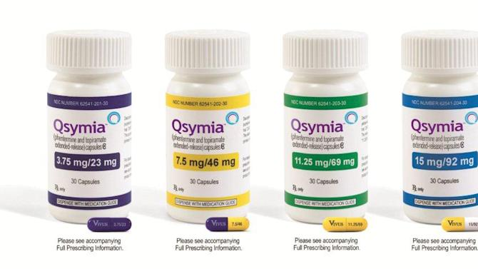 This product image provided by Vivus Pharmaceuticals Inc. shows bottles of Qsymia, the company's anti-obesity drug. The pill was approved Tuesday, July 17, 2012 by the Food and Drug Administration for patients who are overweight or obese and also have at least one weight-related condition such as high blood pressure, diabetes or high cholesterol. (AP Photo/Vivus Pharmaceuticals Inc.)