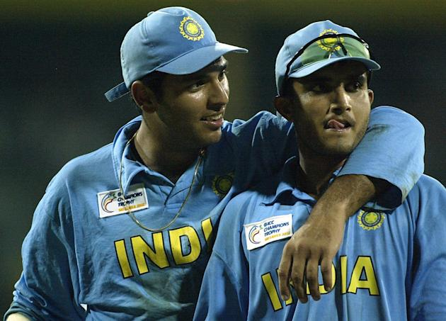 Youvraj Singh and Saurav Ganguly of India celebrate