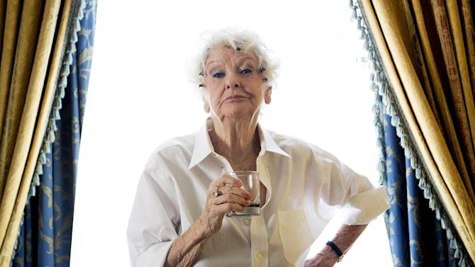 FILE - This Sept. 11, 2012 file photo shows actress Elaine Stritch posing for a photograph during the 2012 Toronto International Film Festival in Toronto. (Stritch died Thursday, July 17, 2014 at her home in Birmingham, Mich. She was 89. (AP Photo/The Canadian Press, Michelle Siu, File)