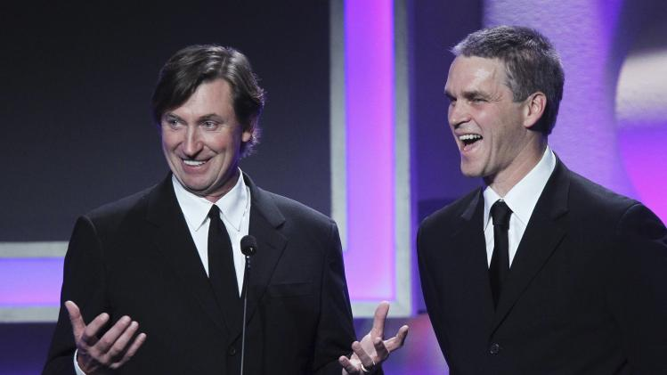Hockey stars Gretzky and Robitaille appear at the American Cinematheque's 2013 Award Show honoring Jerry Bruckheimer, in Beverly Hills