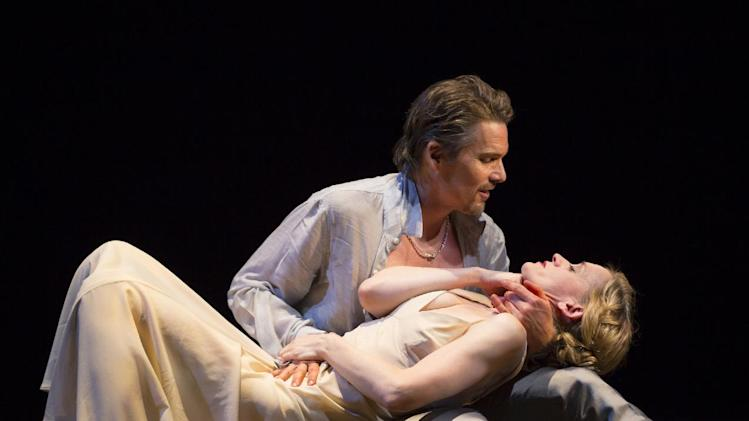 "This image released by Lincoln Center Theater shows Ethan Hawke and Anne-Marie Duff during a performance of ""Macbeth, in New York. (AP Photo/Lincoln Center Theater, T Charles Erickson)"