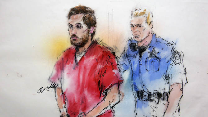 This courtroom sketch shows James Holmes being escorted by a deputy as he arrives at preliminary hearing in district court in Centennial, Colo., on Monday, Jan. 7, 2013. Investigators say Holmes opened fire during the midnight showing of the latest Batman movie on July 20, killing 12 people and wounding dozens. (AP Photo/Bill Robles, Pool) TV OUT