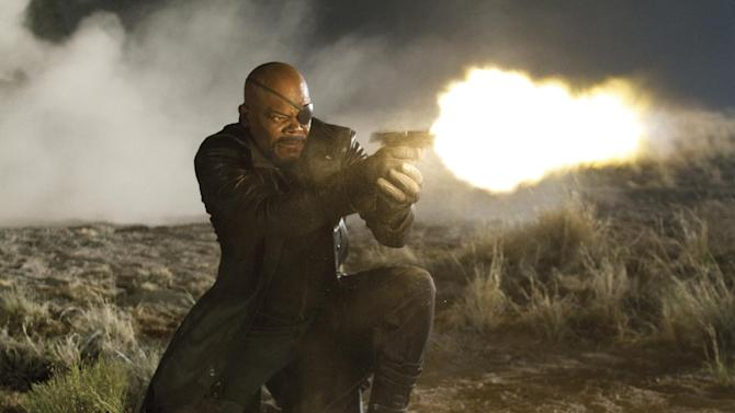 """FILE - In this file photo released by Disney, Samuel L. Jackson portrays Nick Fury in a scene from Marvel's """"The Avengers.""""  Disney and its Marvel Studios unit announced Thursday, Aug. 16, 2012 that the follow-up to this year's biggest hit, """"The Avengers,"""" will arrive in theaters on May 1, 2015.  (AP Photo/Disney, Zade Rosenthal, file)"""