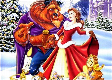 "Blu-ray/DVD cover art for ""Beauty and the Beast: The Enchanted Christmas."""