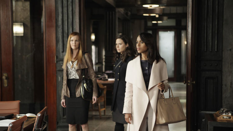 """Scandal"" -- ""Any Questions?"" Darby Stanchfield, Katie Lowes, Kerry Washington"