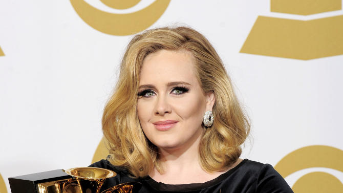 "FILE - In this Feb. 12, 2012 file photo, Adele poses backstage with her six awards at the 54th annual Grammy Awards in Los Angeles. Adele won awards for best pop solo performance for ""Someone Like You,"" song of the year, record of the year, and best short form music video for ""Rolling in the Deep,"" and album of the year and best pop vocal album for ""21."" After a year of Grammy glory and James Bond soundtracking, Adele has been voted The Associated Press Entertainer of the Year. (AP Photo/Mark J. Terrill, File)"