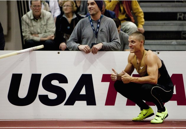 Hardee gives a thumbs up to a competitor during pole vault event in the Heptathlon at the USA Indoor Track and Field Championships in Albuquerque, New Mexico