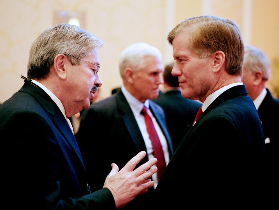 Iowa Gov. Terry Branstad, left, speaks with Virginia Gov. Bob McDonnell prior to a panel discussion during the 2012 RGA Annual Conference at Encore hotel-casino Thursday, Nov. 15, 2012, in Las Vegas. (AP Photo/Ronda Churchill)
