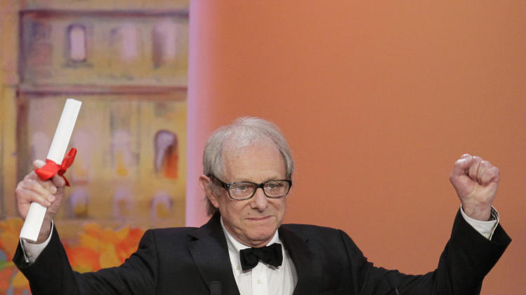 Director Ken Loach reacts after he was presented the Jury's Prize for The Angels' Share during the awards ceremony at the 65th international film festival, in Cannes, southern France, Sunday, May 27, 2012. (AP Photo/Francois Mori)