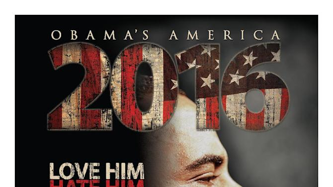"This undated publicity photo released by Rocky Mountain Pictures shows a poster for the documentary film, ""2016: Obama's America."" The conservative film exploring the roots of President Barack Obama's political views surprised the film industry when it took in $6.5 million to land at No. 7 at the weekend box office ahead of three new releases: the Joseph Gordon Levitt action flick ""Premium Rush,"" the Kristen Bell comedy ""Hit and Run"" and the Ashley Greene horror film ""The Apparition."" (AP Photo/Rocky Mountain Pictures)"