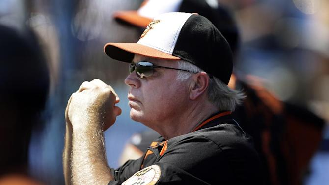Baltimore Orioles manager Buck Showalter watches from the dugout during an exhibition spring training baseball game against the Toronto Blue Jays, Saturday, March 16, 2013, in Dunedin, Fla. (AP Photo/Carlos Osorio)