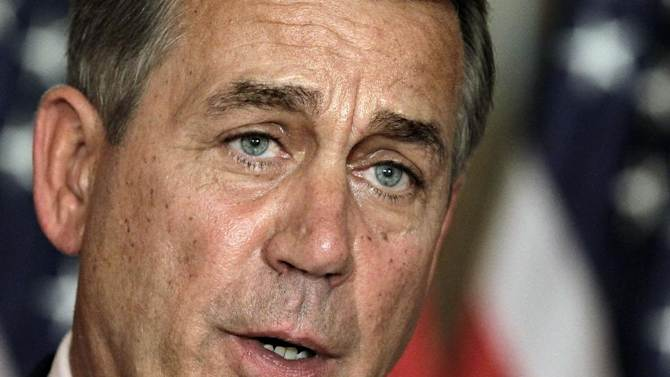 """FILE - In this July 30, 2011, file photo, House Speaker John Boehner, R-Ohio, speaks at a news conference on Capitol Hill in Washington.  President Obama and Speaker Boehner met at the White House today in search of a compromise to avert the economy-threatening """"fiscal cliff.""""  (AP Photo/J. Scott Applewhite, File)"""