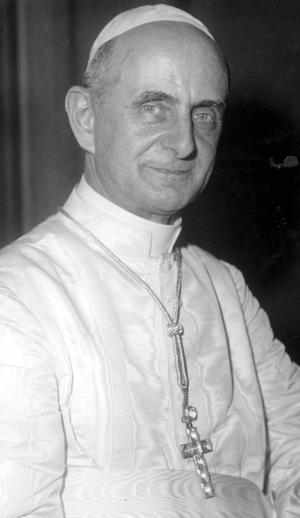 """FILE -- This file photo taken on June 21, 1963, shows Pope Paul VI portrayed after his election, with white Pontifical robe and pectoral cross. Pope Francis has approved a miracle credited to the intercession of Paul VI and set the date for the late pontiff's beatification for Oct. 19, the Vatican said Saturday. Francis had authorized the beatification, the last formal step before possible sainthood, a day earlier, the Vatican said. Paul VI, who reigned as pontiff from 1963-1978, made landmark progress in improving Catholics' relationship with other Christians. His papacy is also remembered by his decision, after years of study, to ban contraception for Catholics, in a 1968 encyclical, """"Humanae Vitae"""" (""""of human life""""). (AP Photo/Luigi Felici)"""