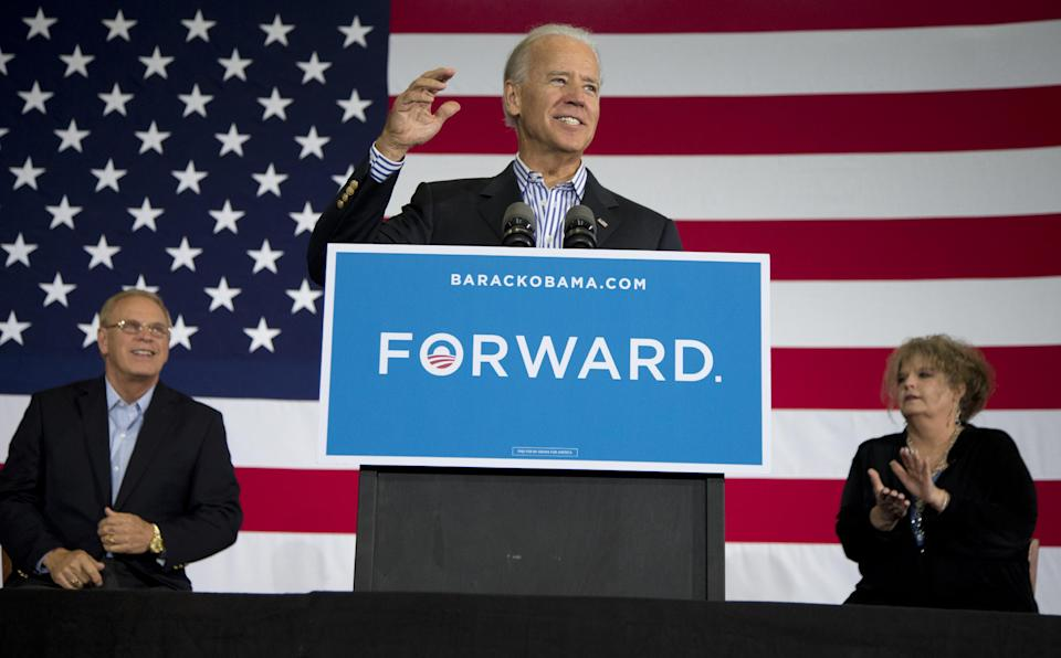 Vice President Joe Biden speaks at a campaign event at Zane Grey Elementary School, Saturday, Sept. 8, 2012, in Zanesville, Ohio. Seated left is former Ohio Gov. Ted Strickland, and right is teacher Autumn Collins-Widen. (AP Photo/Carolyn Kaster)