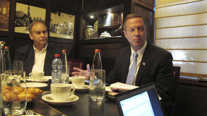 """Maryland's Governor Martin O'Malley, right, briefs journalists in Jerusalem Wednesday, April 24, 2013. O'Malley said Wednesday that he will dedicate more """"reflection time"""" in the later part of this year to deciding whether to seek the Democratic nomination for the 2016 presidential race. (AP Photo/Diaa Hadid)"""