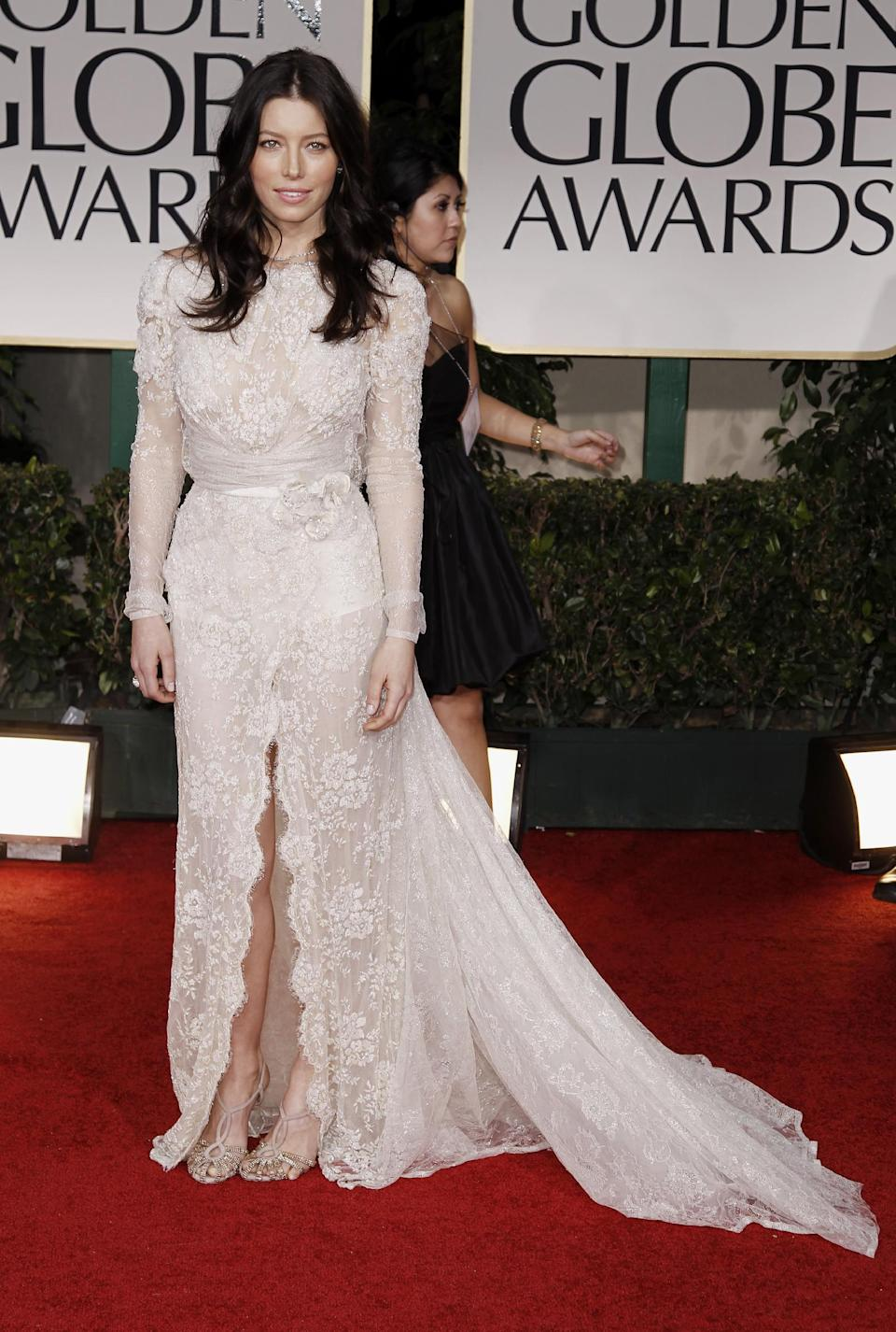 Jessica Biel arrives at the 69th Annual Golden Globe Awards Sunday, Jan. 15, 2012, in Los Angeles. (AP Photo/Matt Sayles)