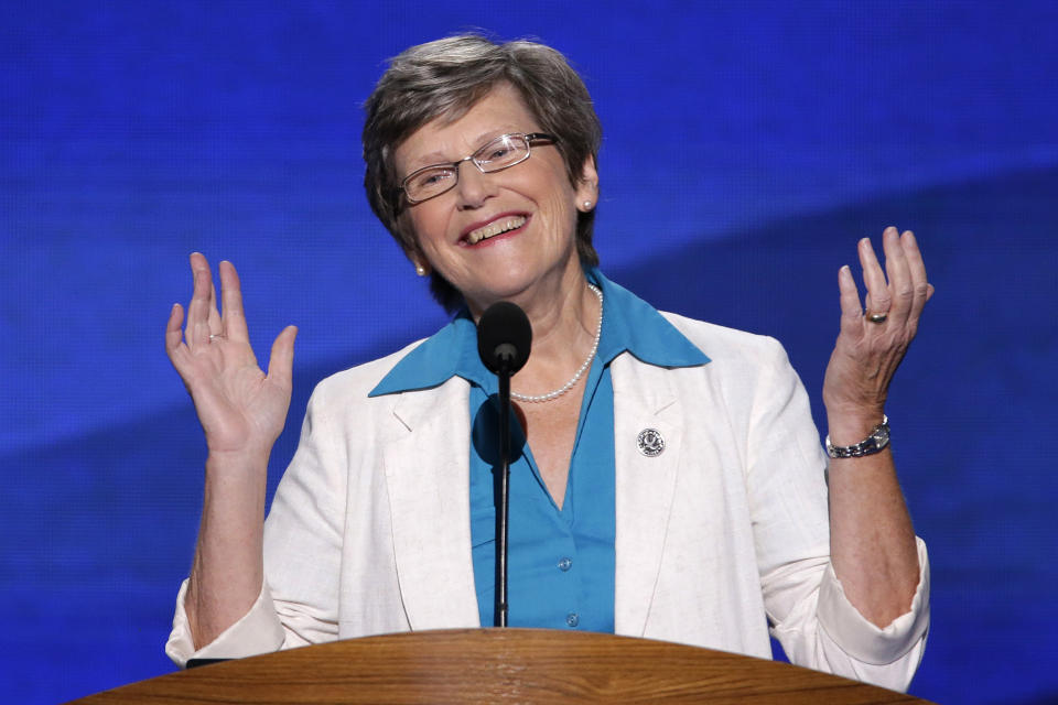 Sister Simone Campbell, Executive Director of the Roman Catholic Social Justice Organization addresses the Democratic National Convention in Charlotte, N.C., on Wednesday, Sept. 5, 2012. (AP Photo/J. Scott Applewhite)