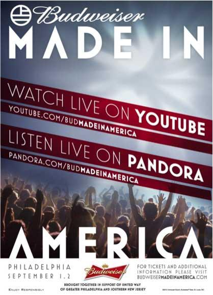 YouTube and Pandora Will Live Stream Budweiser's Made in America Festival [EXCLUSIVE]
