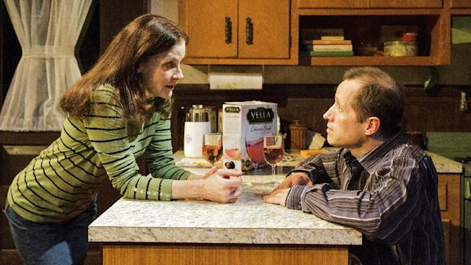 "This theater image released by Keith Sherman & Associates shows Hallie Foote, left, and Tim Hopper in a scene from Daisy Foote's play, ""Him,"" currently performing off-Broadway at Primary Stages in New York.  (AP Photo/Keith Sherman & Associates, James Leynse)"