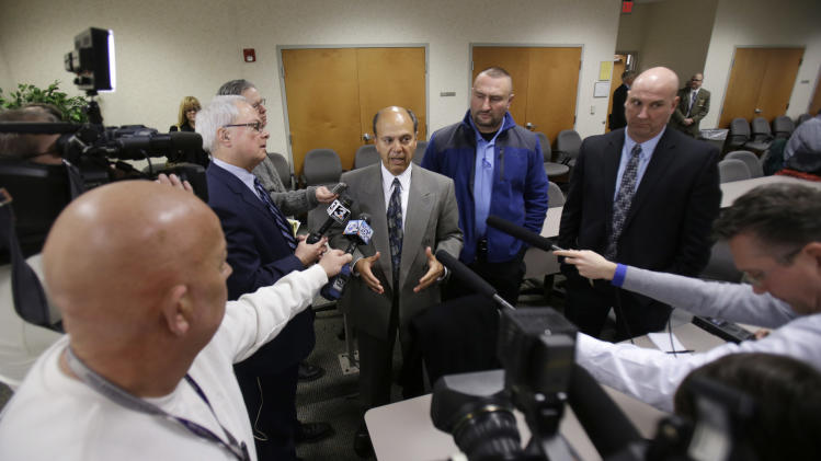 Patrick D'Angelo, an attorney for the Cleveland Police union, answers questions during a news-conference at the Bureau of Criminal Investigation Tuesday, Feb. 5, 2013, in Richfield, Ohio. Ohio Attorney General Mike DeWine said lack of proper supervision and failures in the system led to a chaotic police chase with 13 officers firing 137 rounds, killing two people. DeWine released the first detailed account of the Nov. 29, 2012 shooting. He turned it over to Cuyahoga County prosecutor Tim McGinty who said the case will be presented to a grand jury to determine if the officers should face charges. (AP Photo/Tony Dejak)