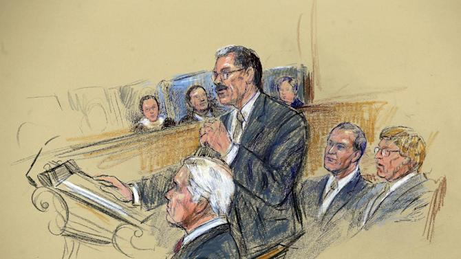 This artist rendering shows Solicitor General Donald B. Verrilli Jr., center, addressing the Supreme Court in Washington, Tuesday, March 26, 2013, as the court heard arguments on California's ban on same-sex marriage. Seated, from left are, attorneys Charles J. Cooper, David Boies, and Theodore Olsen, who represented the plaintiffs. (AP Photo/Dana Verkouteren)