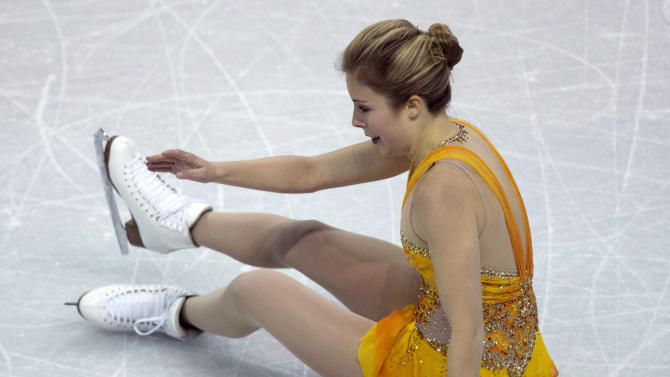Ashely Wagner of the USA performs in the ladies free skate at the World Figure Skating Championships on Saturday, March 16, 2013, in London, Ontario. (AP Photo/The Canadian Press, Frank Gunn)