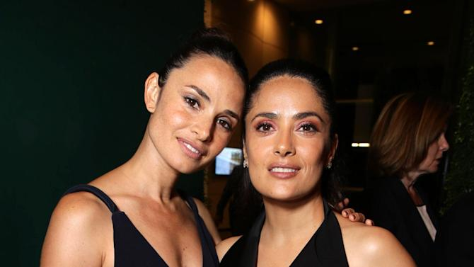 """Mia Maestro and Producer Salma Hayek seen at Participant Media Special Los Angeles Screening of """"Kahlil Gibran's The Prophet"""" held at LACMA's Bing Theater on Wednesday, July 29, 2015, in Los Angeles. (Photo by Eric Charbonneau/Invision for Participant Media/AP Images)"""