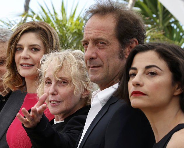 "Director Claire Denis and cast members pose during a photocall for the film ""Les Salauds"" at the 66th Cannes Film Festival"