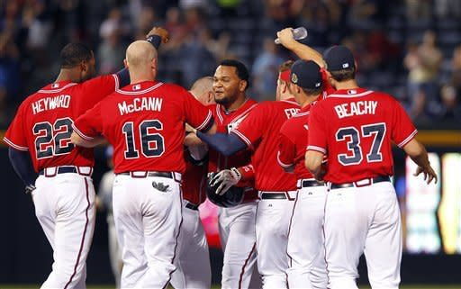 Francisco's single gives Braves 4-3 win over LA