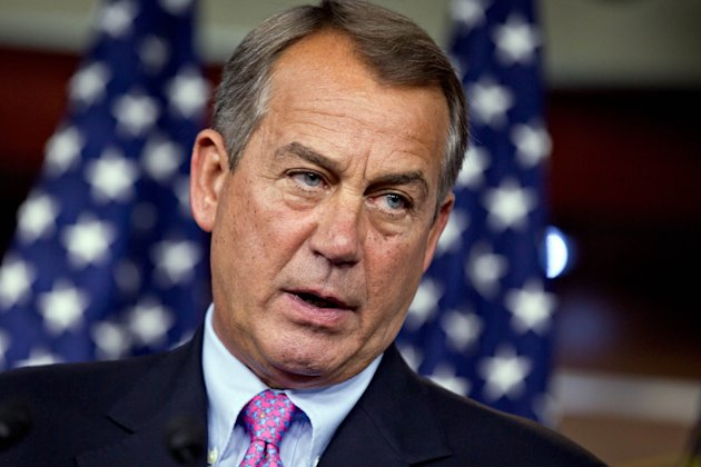 FILE - In this July 19, 2012, file phto Speaker of the House John Boehner, R-Ohio, talks to reporters on Capitol Hill in Washington. Fresh off a five-week vacation, lawmakers return to Washington on Monday, Sept. 10, 2012, for a brief pre-election session in which Congress will do what it often does best: punt its problems to the future. At issue is a six-month temporary spending bill to finance the day-to-day operations of the federal government. (AP Photo/J. Scott Applewhite)