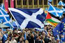 Scottish independence supporters rally in Glasgow's George Square on July 30, 2016 to call for a second referendum