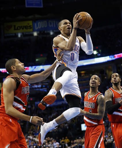 Durant helps Thunder drop Blazers, 103-83