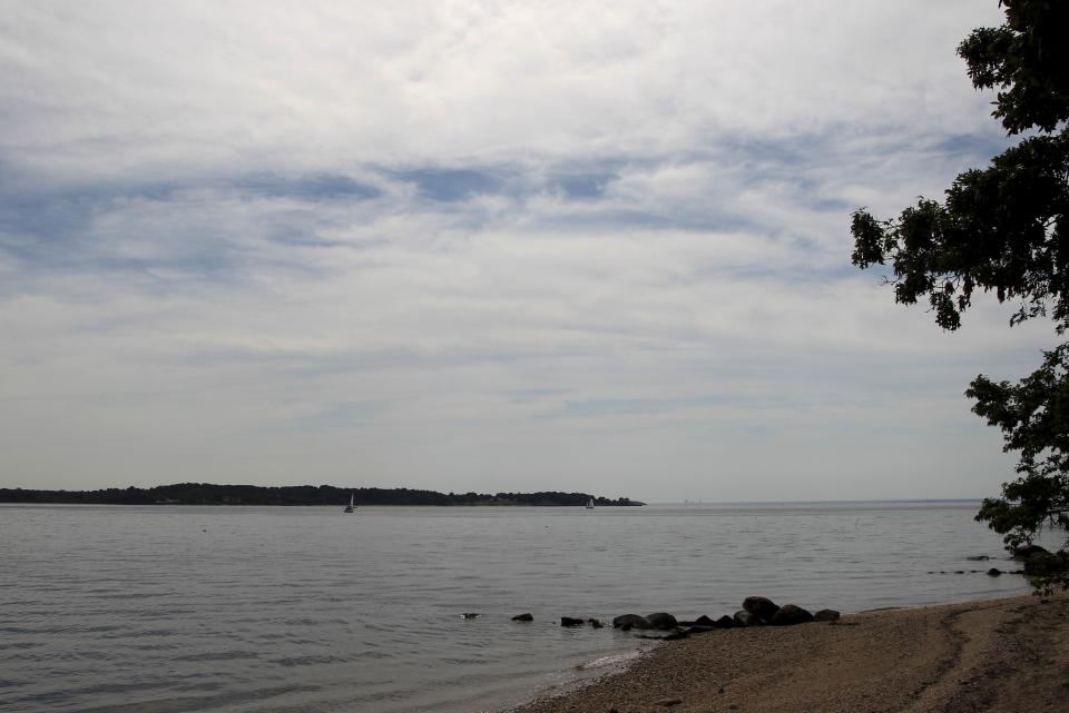 Oyster Bay near the opening to the Long Island Sound is seen from Lloyd Harbor, N.Y., Thursday, July 5, 2012.  Police say three bodies have been pulled out of New York's Long Island Sound after a yacht capsized on the Fourth of July and 24 others were rescued. (AP Photo/Seth Wenig)