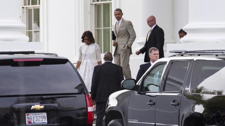 U.S. President Barack Obama and his family depart for Easter Services from the White House in Washington