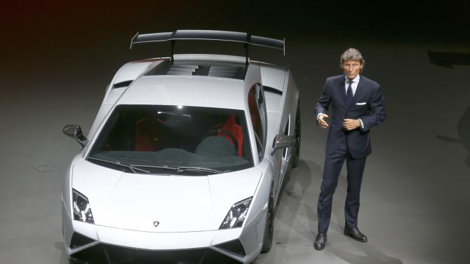 "Lamborghini, CEO Stephan Winkelmann presents the new ""Gallardo"" during the Volkswagen group night at the Frankfurt motor show"