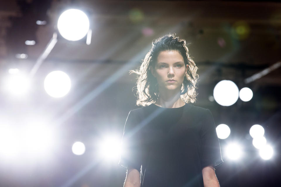 A model walks the runway during a run-through before the Sophie Theallet Spring 2013 collection is modeled during Fashion Week in New York, Tuesday, Sept. 11, 2012. (AP Photo/John Minchillo)
