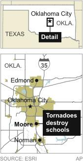 Map locates Moore, Oklahoma, that was hit by tornadoes