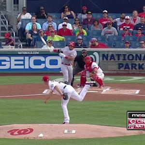 Nats tag out Bruce at home plate