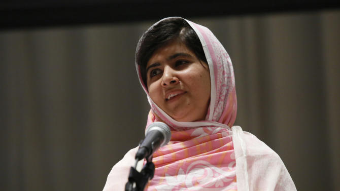 FILE - In this Friday, July 12, 2013 file photo provided by the United Nations Foundation, Malala Yousafzai celebrates her 16th birthday by addressing hundreds of young leaders who support the United Nation's Secretary General's Global Education First Initiative, during 'Malala Day' at United Nations Headquarters. It appears the Pakistani schoolgirl who survived a Taliban assassination attempt can add Queen Elizabeth II to her list of admirers. Buckingham Palace officials said Sunday, Oct. 6, 2013, that Malala Yousafzai has been invited to an Oct. 18 reception that will be hosted by the queen and her husband, Prince Philip. Other guests will include academics and teachers. (AP Photos/United Nations Foundation, Stuart Ramson, File)