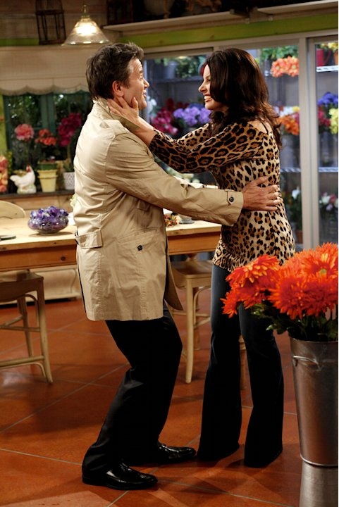 "John Michael Higgins as Peter and Fran Drescher as Fran in ""Happily Divorced."""
