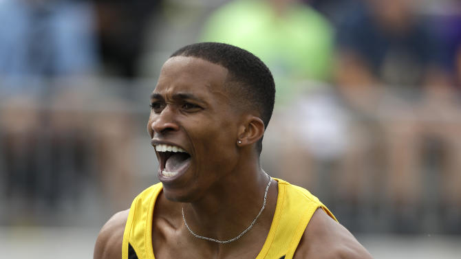 George Kitchens reacts after a jump during the senior men's long jump at the U.S. Championships athletics meet on Sunday, June 23, 2013, in Des Moines, Iowa. (AP Photo/Charlie Neibergall)