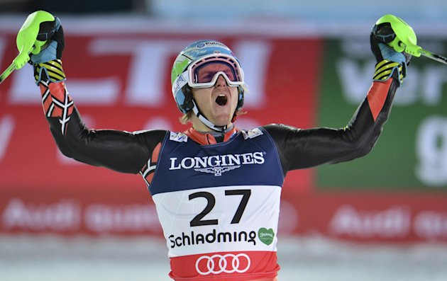 United States' Ted Ligety reacts after the slalom portion of the men's super-combined at the Alpine skiing world championships in Schladming, Austria, Monday, Feb. 11, 2013. (AP Photo/Kerstin Joensson