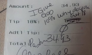 pastor leaves waiter note: 'I give God 10%. Why do you get 18?'