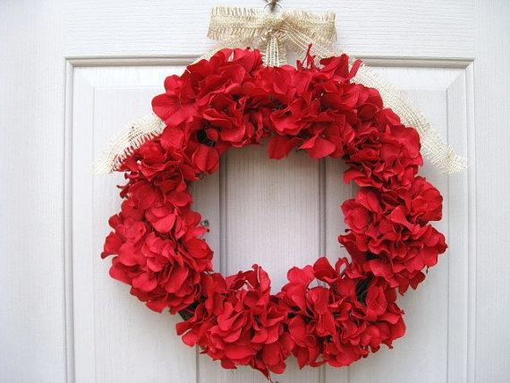 Red Hydrangea Wreath by A Work of Heart