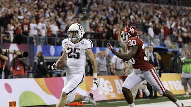 Texas A&M's Ryan Swope (25) runs into the end zone for a touchdown ahead of Oklahoma's Javon Harris (30) in the second half of the Cotton Bowl NCAA college football game Friday, Jan. 4, 2013, in Arlington, Texas. (AP Photo/LM Otero)