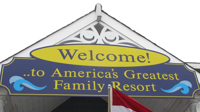This March 20, 2012, photo shows the welcome center in Ocean City N.J., with the city's motto, America's Greatest Family Resort. Voters will decide in May whether to allow restaurant patrons to bring wine or beer with them to have with dinner, a proposal that has proven divisive. (AP Photo/Wayne Parry)