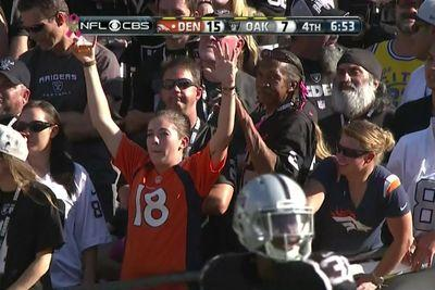 Brave Broncos fan celebrates in Black Hole and is promptly shushed