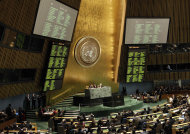 The results of a draft resolution on Palestinian status are posted during a meeting of the United Nations General Assembly after a vote on a resolution on the issue of upgrading the Palestinian Authority's status to non-member observer state in the United Nations headquarters, Thursday, Nov. 29, 2012. (AP Photo/Kathy Willens)