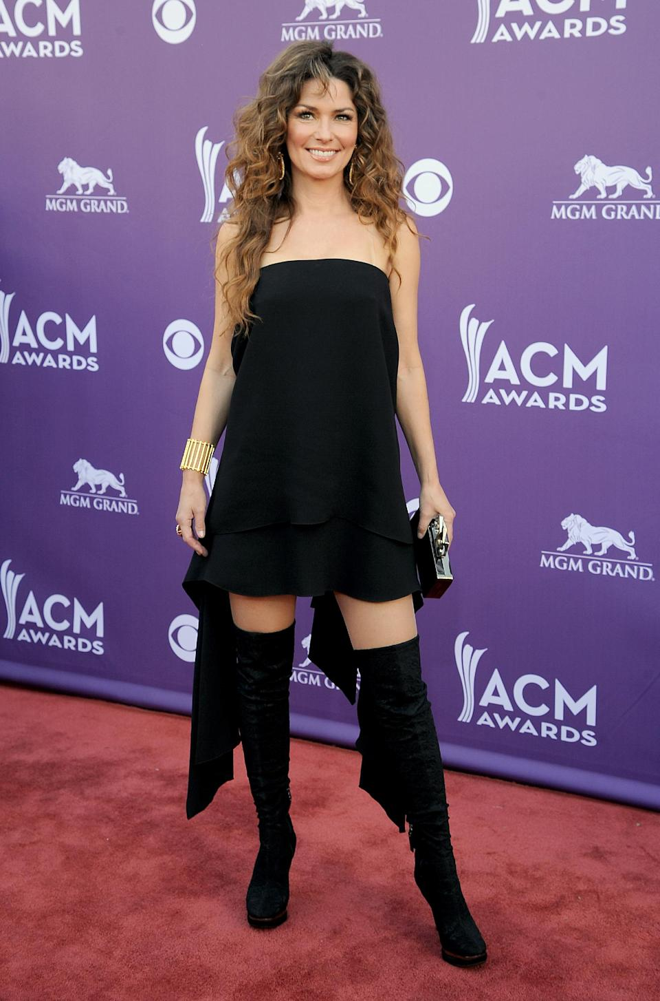 Singer Shania Twain arrives at the 48th Annual Academy of Country Music Awards at the MGM Grand Garden Arena in Las Vegas on Sunday, April 7, 2013. (Photo by Al Powers/Invision/AP)