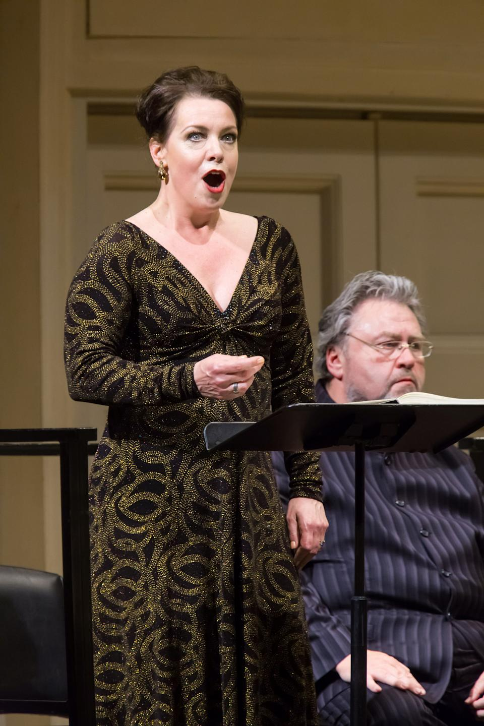 In this May 24, 2012, provided by Carnegie Hall, Swedish soprano Nina Stemme sings in the title role of Salome with the Cleveland Orchestra at Carnegie Hall in New York. (AP Photo/Carnegie Hall, Chris Lee)